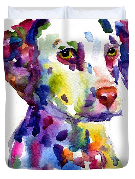 Colorful Dalmatian Puppy Dog Portrait Art Duvet Cover