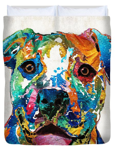 Colorful Dog Pit Bull Art - Happy - By Sharon Cummings Duvet Cover
