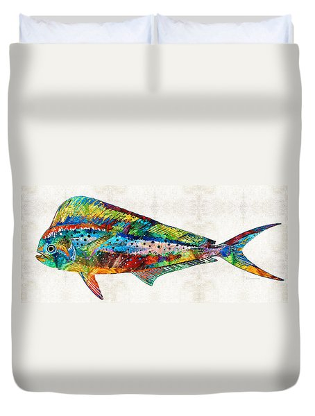 Colorful Dolphin Fish By Sharon Cummings Duvet Cover by Sharon Cummings