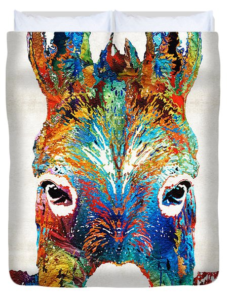 Colorful Donkey Art - Mr. Personality - By Sharon Cummings Duvet Cover