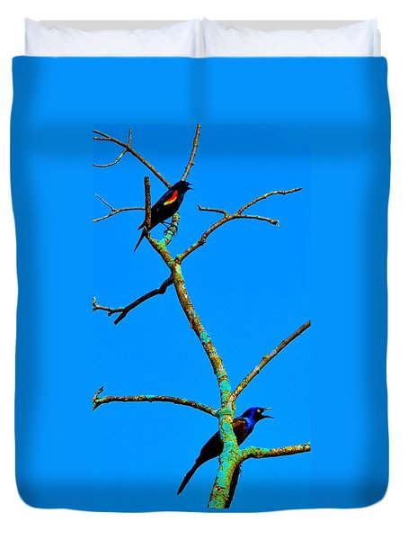 Duvet Cover featuring the photograph Colorful Duet by Zafer Gurel