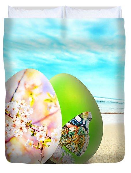Colorful Easter Eggs On Sunny Beach Duvet Cover by Michal Bednarek