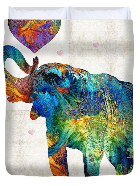Colorful Elephant Art - Elovephant - By Sharon Cummings Duvet Cover