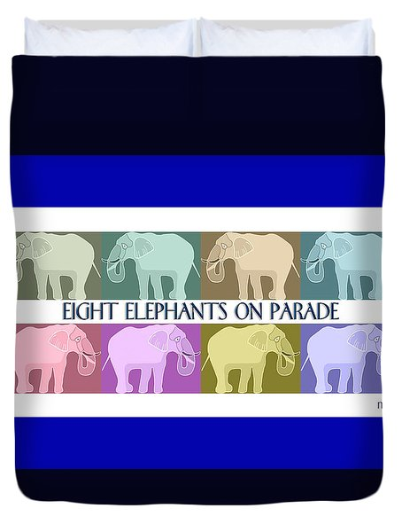 Pastel Elephants On Parade Duvet Cover