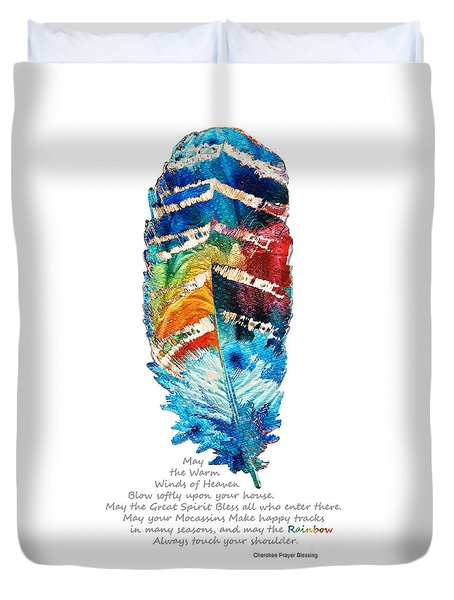 Colorful Feather Art - Cherokee Blessing - By Sharon Cummings Duvet Cover