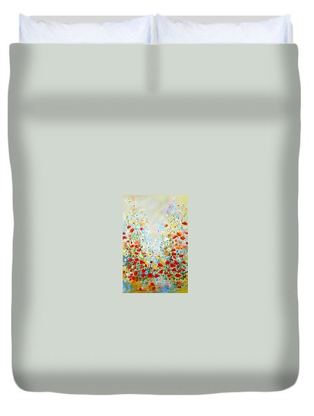 Colorful Field Of Poppies Duvet Cover
