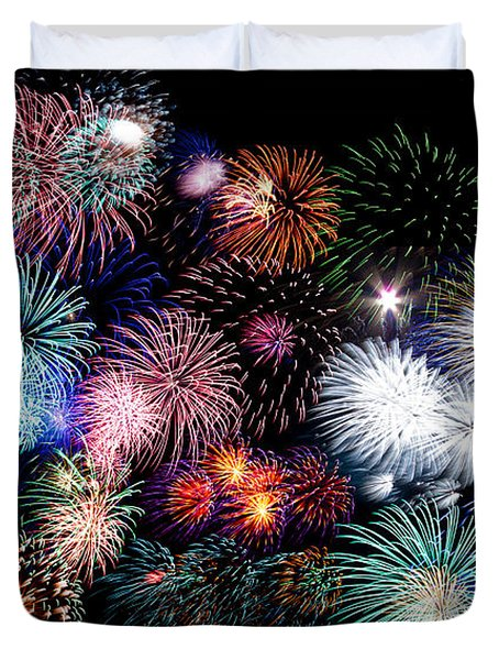Colorful Fireworks Of Various Colors In Night Sky Duvet Cover by Stephan Pietzko
