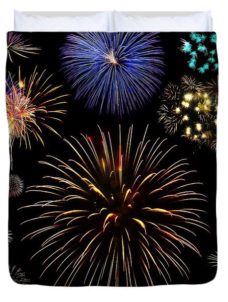 Colorful Are Fireworks Duvet Cover by Stanley Mathis
