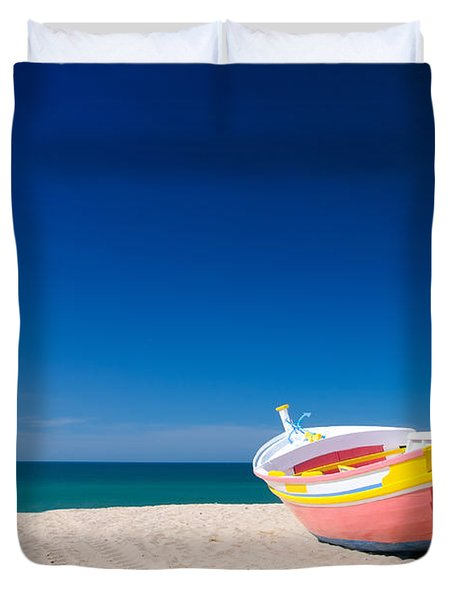 Colorful Fishing Boat Algarve Portugal Duvet Cover by Amanda Elwell
