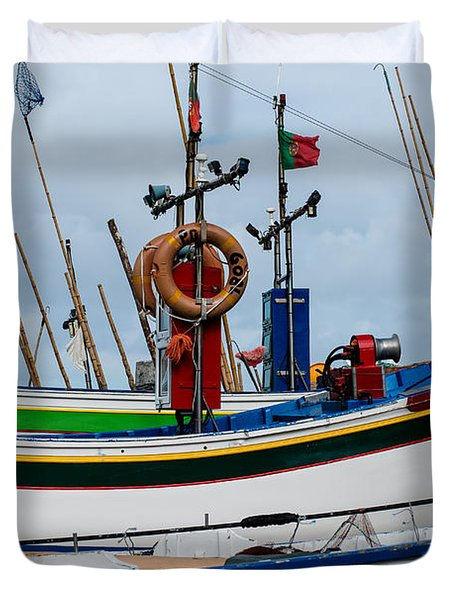 colorful fishing boat with Portuguese flag  Duvet Cover