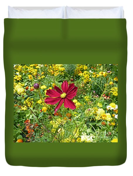 Colorful Flower Meadow With Great Red Blossom Duvet Cover