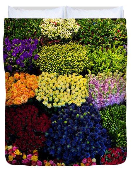 Colorful Flowers Background Duvet Cover by Michal Bednarek