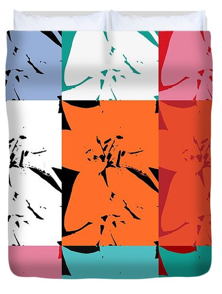 Colorful Flowers  Lily Duvet Cover