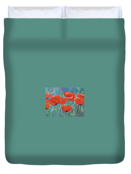 Colorful Flowers Red Poppies Beautiful Floral Art Duvet Cover