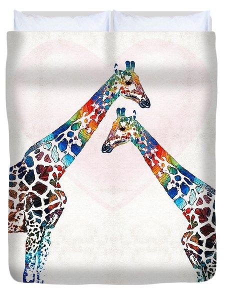 Colorful Giraffe Art - I've Got Your Back - By Sharon Cummings Duvet Cover