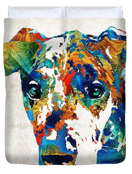 Colorful Great Dane Art Dog By Sharon Cummings Duvet Cover