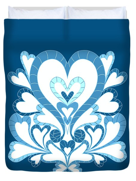 Blue Hearts Duvet Cover