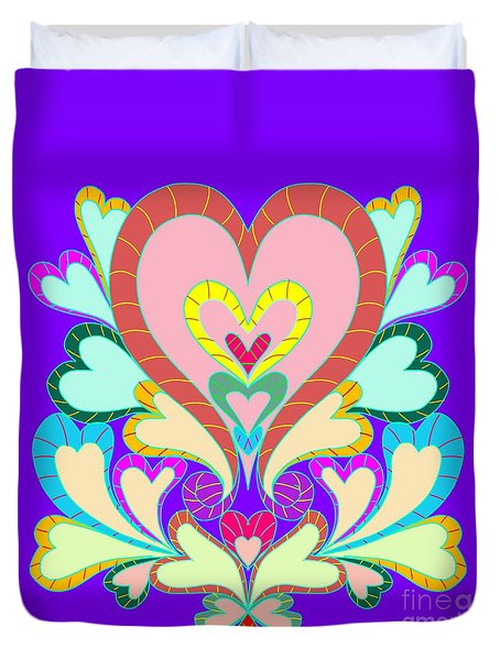 Colorful Hearts Duvet Cover