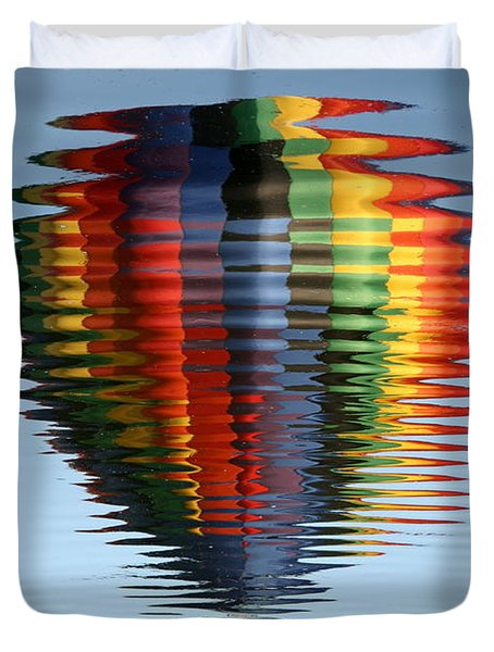 Colorful Hot Air Balloon Ripples Duvet Cover by Carol Groenen