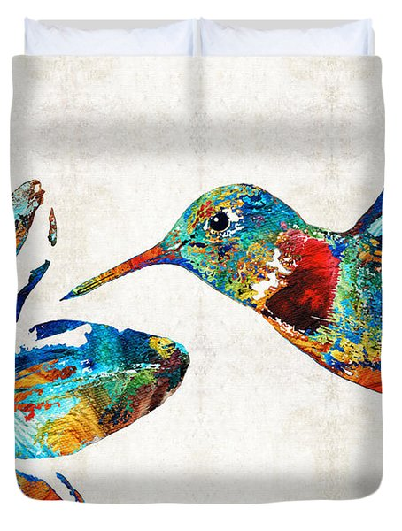 Colorful Hummingbird Art By Sharon Cummings Duvet Cover