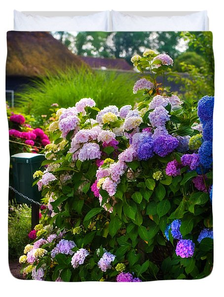 Colorful Hydrangea At The Gate. Giethoorn. Netherlands Duvet Cover
