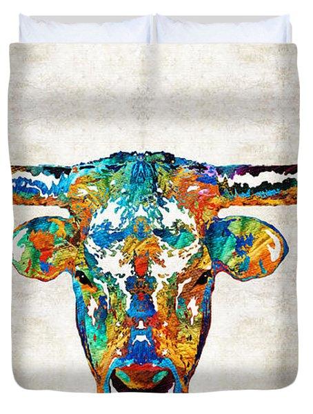 Colorful Longhorn Art By Sharon Cummings Duvet Cover