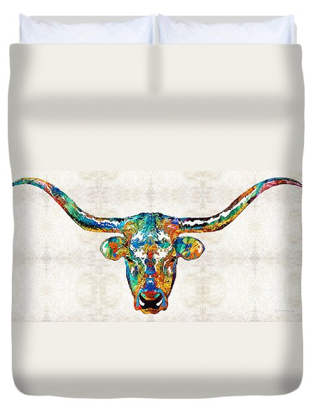 Colorful Longhorn Art By Sharon Cummings Duvet Cover