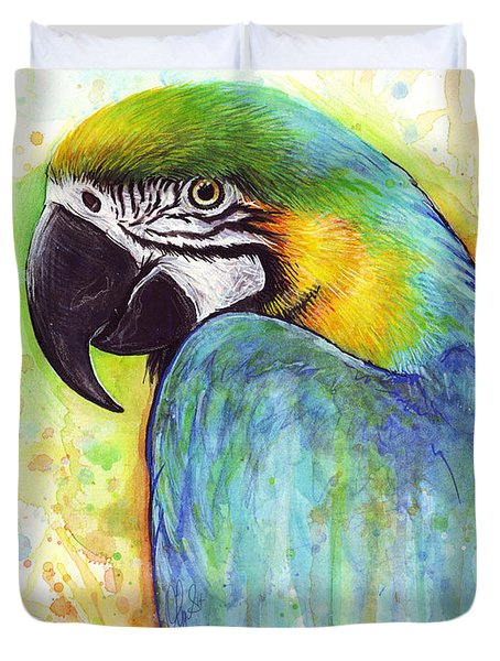 Macaw Painting Duvet Cover by Olga Shvartsur