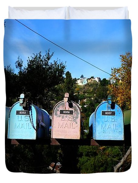 Colorful Mailboxes Duvet Cover by Nina Prommer