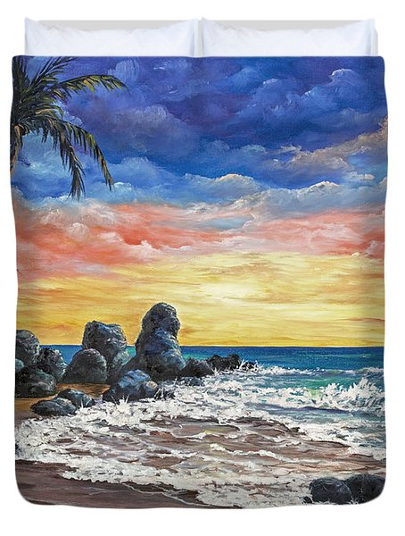 Colorful Maui Sunset Duvet Cover