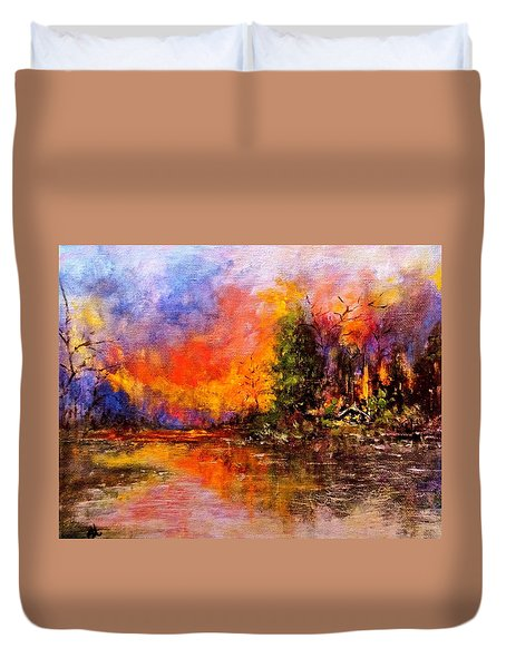 Duvet Cover featuring the painting Colorful Night.. by Cristina Mihailescu