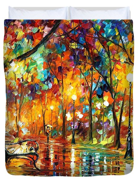 Colorful Night - Palette Knlfe Oil Painting On Canvas By Leonid Afremov Duvet Cover