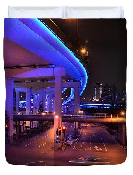 Colorful Night Traffic Scene In Shanghai China Duvet Cover