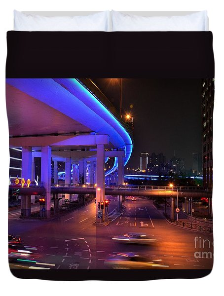 Colorful Night Traffic Scene In Shanghai China Duvet Cover