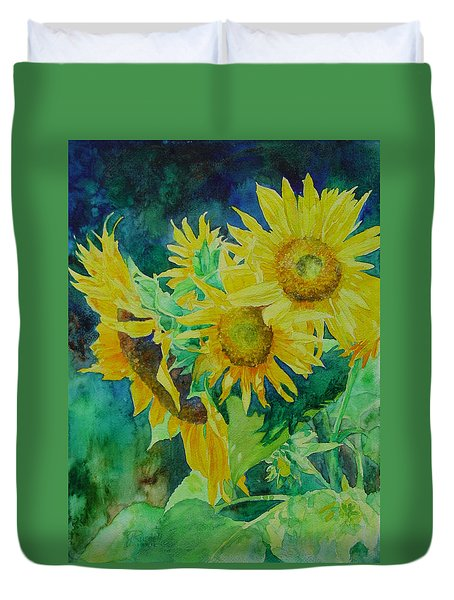 Colorful Original Sunflowers Flower Garden Art Artist K. Joann Russell Duvet Cover