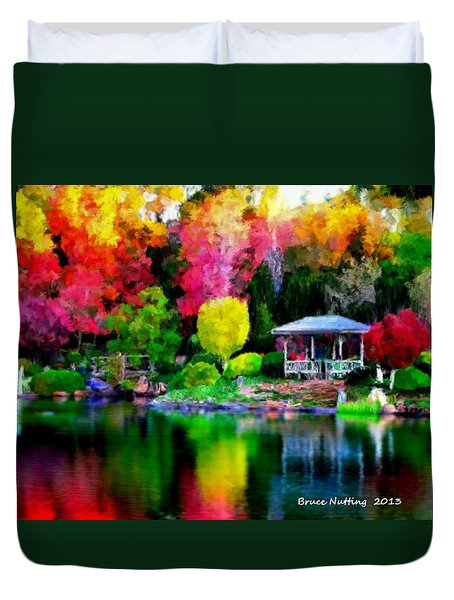 Duvet Cover featuring the painting Colorful Park At The Lake by Bruce Nutting