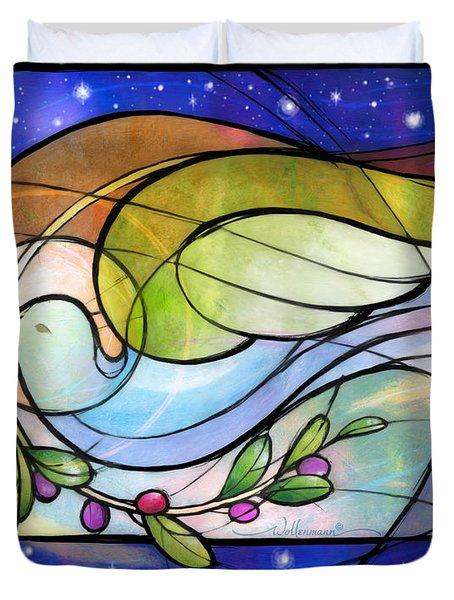 Colorful Peace Dove Duvet Cover