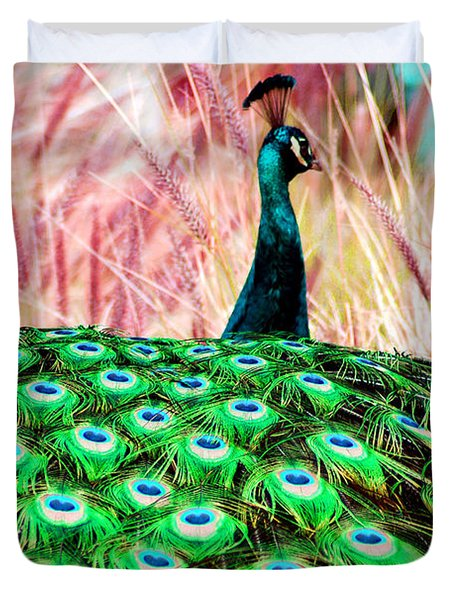 Duvet Cover featuring the photograph Colorful Peacock by Matt Harang