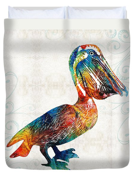 Colorful Pelican Art 2 By Sharon Cummings Duvet Cover by Sharon Cummings