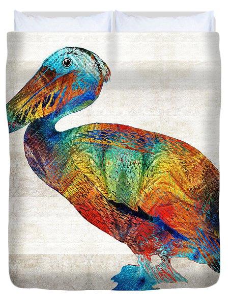 Colorful Pelican Art By Sharon Cummings Duvet Cover
