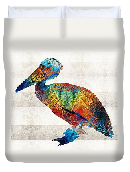 Colorful Pelican Art By Sharon Cummings Duvet Cover