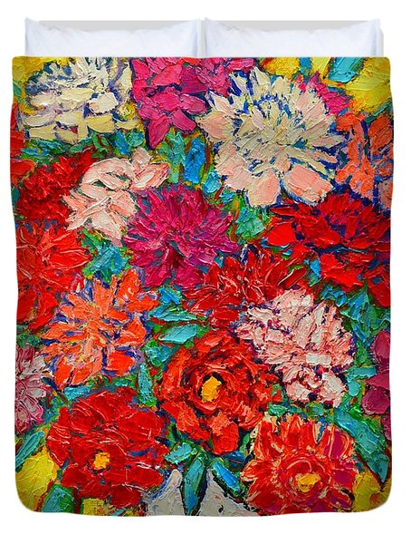 Colorful Peonies Duvet Cover by Ana Maria Edulescu