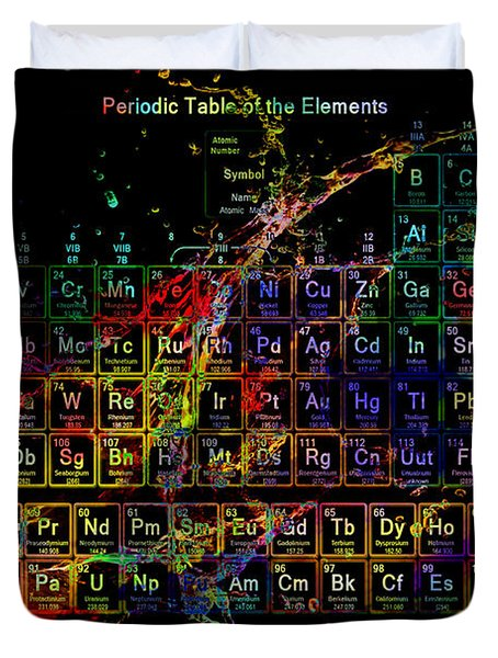 Colorful Periodic Table Of The Elements On Black With Water Splash Duvet Cover by Eti Reid