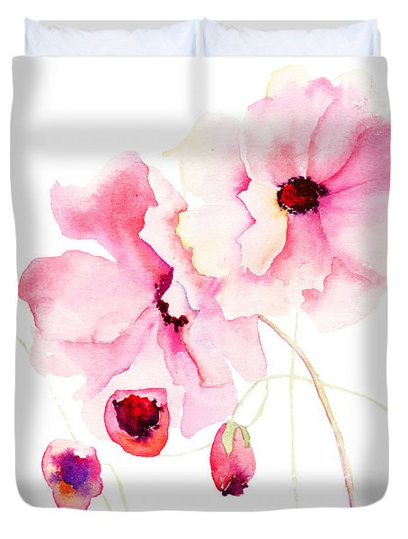 Colorful Pink Flowers Duvet Cover