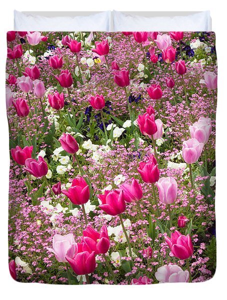 Colorful Pink Tulips And Other Flowers In Spring Duvet Cover