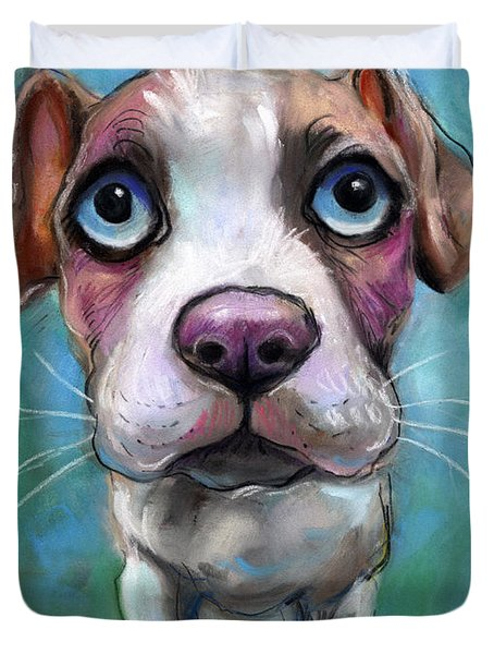 Colorful Pit Bull Puppy With Blue Eyes Painting  Duvet Cover