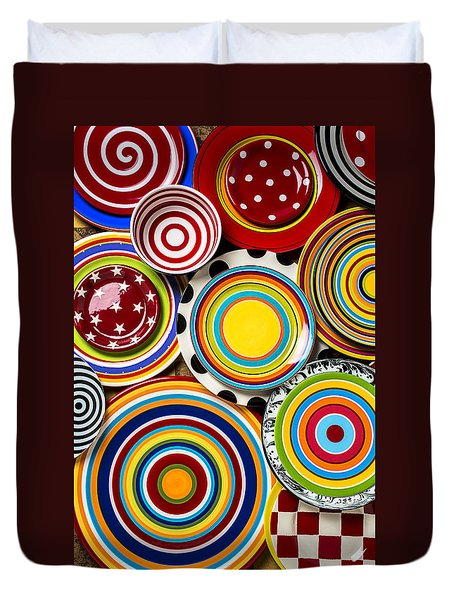 Colorful Plates Duvet Cover by Garry Gay