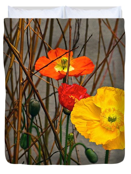 Colorful Poppies And White Willow Stems Duvet Cover