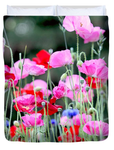 Duvet Cover featuring the photograph Colorful Poppies by Peggy Collins