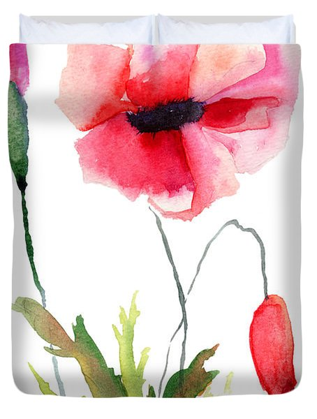 Colorful Poppy Flowers Duvet Cover
